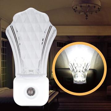 PC Park CW-01光感式/菱格紋貝殼小夜燈/極光白