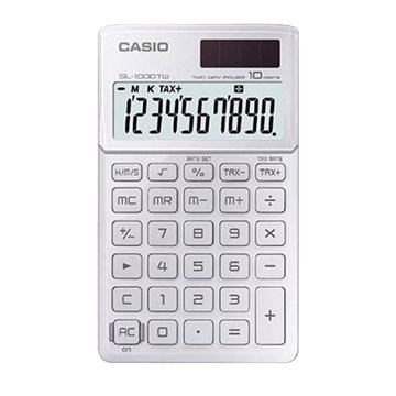 CASIO 卡西歐 SL-1000TW-WE 10位元攜帶型計算機(瑩雪白)