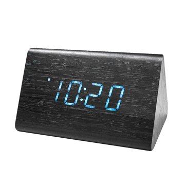 KINYO 金葉 TD-521 三角形LED聲控木頭鬧鐘/黑