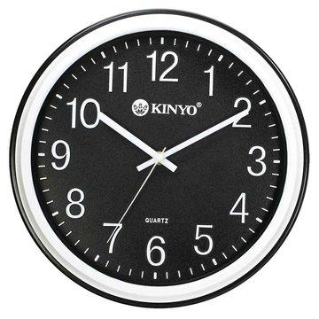 KINYO 金葉 CL-125 簡約浮雕靜音掛鐘(12吋)黑(福利品出清)