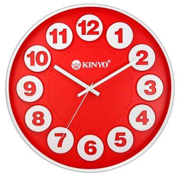 KINYO 金葉 CL-123 立體凹凸靜音掛鐘(12吋)紅(福利品出清)