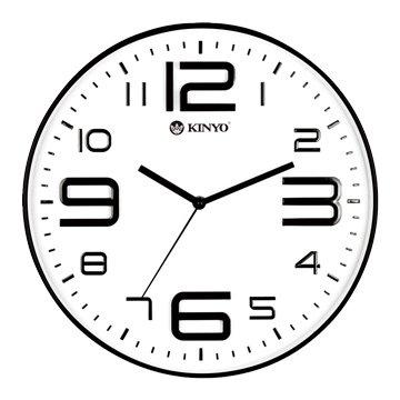 KINYO 金葉 CL-141 簡約浮雕靜音掛鐘(14吋)白