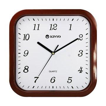KINYO 金葉CL-110 方形靜音掛鐘(10吋)-咖啡色