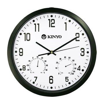 KINYO 金葉 CL-130 溫濕度計靜音掛鐘/14吋/黑