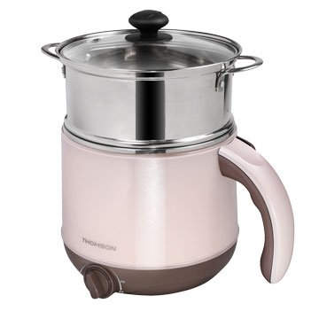 THOMSON 唐姆盛TM-SAK14 2.2L雙層防燙不鏽鋼多功能美食鍋(附蒸籠)