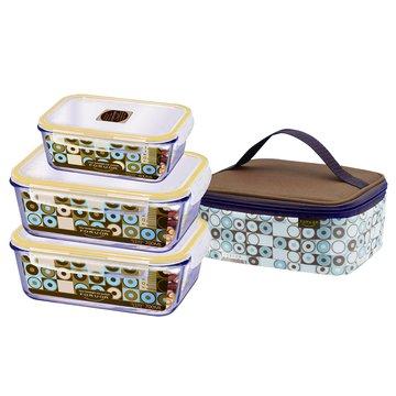 SANLUX 台灣三洋 玻璃保鮮盒提袋組(3入)FU-E700GA
